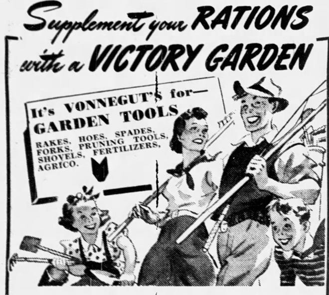 1943 Vonnegut's Hardware advertisement for Victory garden tools.