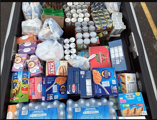 A truckload of food, bought with donations to FACK. April, 2020.