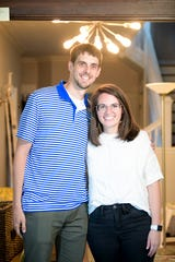 Will and Katie Boggs pose in their future cafe, Likewise Coffee, at 1209 E. Magnolia Ave. in Knoxville, Tenn. on Wednesday, May 13, 2020. The cafe is planning to open in the beginning of July.