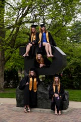Nursing students; Kaity Morris, top left, Kara Melligan, top right, Emily Gross, center, Claire Kehler, bottom left, and Rachel McDade, bottom right, pose for graduation photos, Wednesday, May 13, 2020 at Purdue University in West Lafayette.
