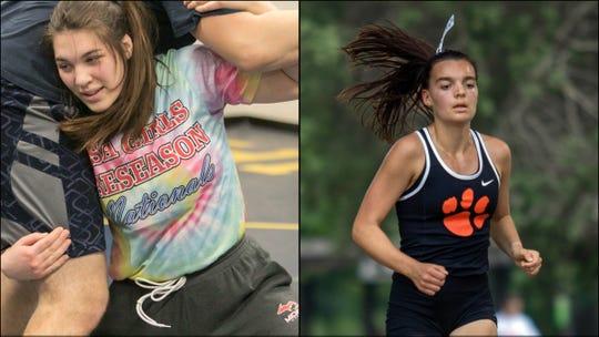 Hartland's Eliana Bommarito (left) vs. Brighton's Katie Carothers