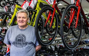 John Jensen, owner of Johnson's Cycle & Fitness in Wauwatosa, has seen a tremendous increase in both sales and service due to the coronavirus pandemic.