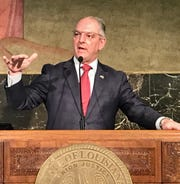 Louisiana Governor John Bel Edwards conducts a press conference on Monday, May 11.