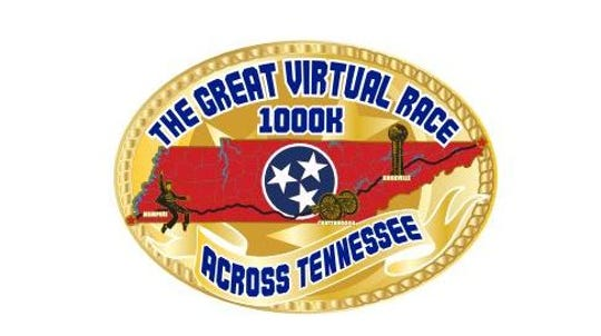 More than 19,000 people from around the world have registered for the Great Virtual Race Across Tennessee. From May 1 through Aug. 31, they will attempt to run 1,000 kilometers (more than 634 miles) from wherever they are. If they make it, they will get this medal as a reward.