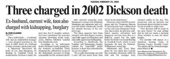 It took more than a year for charges to brought against Kimberly, Terry Jr. and Terry Sr. Mangrum for the 2002 killing of Lee Ann Mangrum.