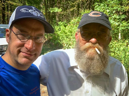 "Nashville doctor Trent Rosenbloom poses with Gary ""Lazarus Lake"" Cantrell during the 2019 Barkley Fall Classic at Tennessee's Frozen Head State Park. Cantrell founded the Barkley, an ultramarathon that has become known as one of the hardest footraces in the world. Rosenbloom served as a ""sweeper"" to make sure everyone was off the course safely when the race ended."