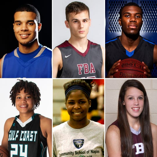 A few of the nominees for Naples Daily News Boys and Girls Basketball Players of the Decade. Clockwise, from top left: Barron Collier's Deion Clark, First Baptist's Preston Urbancic, Community School's Jeff Merton, Gulf Coast's Yasmeen Chang, Community School's Michelle Woods, First Baptist's Emily Lines.