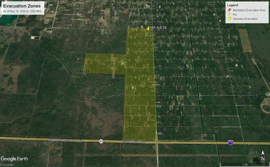 A map released by the Collier County Sheriff's office around 2:30 p.m. on May 14, 2020, shows areas of the county under voluntary (yellow) evacuation orders due to brush fires in Golden Gate Estates.