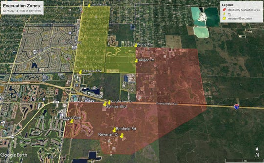 A map released by the Collier County Sheriff's office around 2:30 p.m. on May 14, 2020, shows areas of the county under mandatory (red) and voluntary (yellow) evacuation orders due to brush fires in Golden Gate Estates.