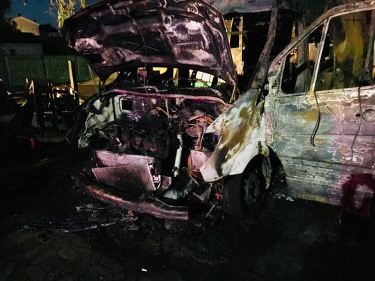 This sprinter van used in air conditioner repair went up in flames Wednesday night in Hawthorne. Investigators are still looking for what ignited the flammable tanks inside the van.