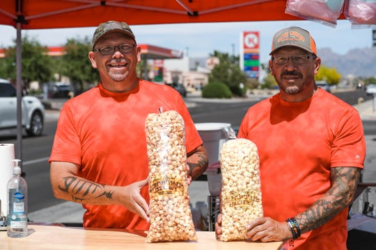 Jeremiah and Kerry Richardson sell kettle corn at their stand Kettle Corn Express in Las Cruces on Thursday, May 14, 2020.