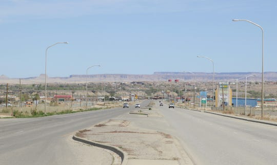 A minimum flow of traffic is seen on U.S. Highway 491 on April 25 in Shiprock, due to the weekend curfew on the Navajo Nation.