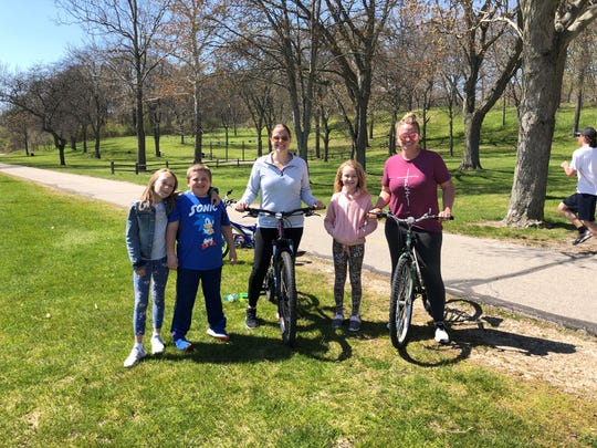 From left, Charlotte Berens, Colin Eickhoff, Karen Eickhoff, Caroline Berens, and Crystal Berens at Kensington Metropark in Milford on May 13, 2020.