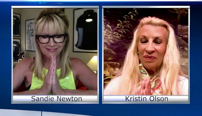 Sandie Newton connects with Kristin Olson via Zoom, which has become the yoga instructor's silver lining.