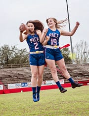 Pace High flag football captains Makayla Michael (left) and Mia Goodwin were key leaders on and off the field.