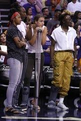 Phoenix Mercury forward Alanna Smith, center, missed much of her WNBA rookie season due to injury.
