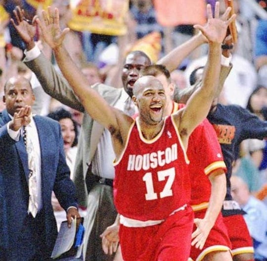 Mario Elie hit the game winner in Houston's 7 victory over Phoenix in the 1995 Western Conference semifinals.