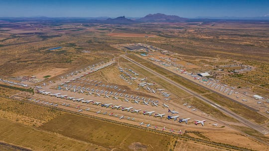 Airlines have been parking an increasing  number of aircraft at the Pinal Air Park near Marana as air traffic falls amid the COVID-19 pandemic.