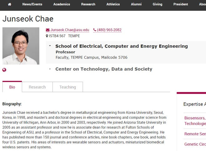 A screenshot of the ASU website shows missing professor Junseok Chae.