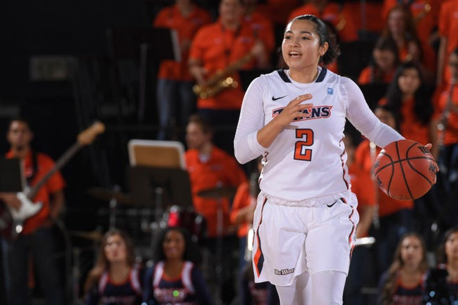 Raina Perez starts the offense for Cal State Fullerton women's basketball team in a game during the 2019-20 season.