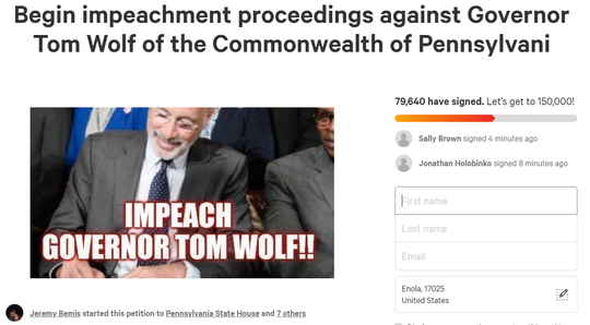 An impeachment petition has struck a nerve with Pennsylvanians fighting for a reopening of the state. This petition started as a gun rights petition.