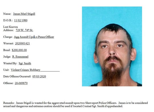 James Murl Stigall is wanted by Shreveport police for the alleged aggravated assault of two Shreveport police officers.