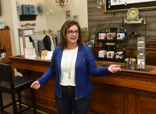 Kim LeBlanc of Evelie Blue Boutique speaks about changes in business Thursday, May 14, 2020, in St. Cloud.
