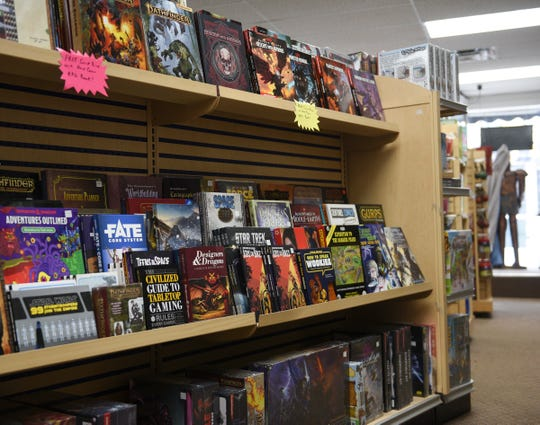 Shelves are stocked for Monday's re-opening at Paddy's Game Shoppe Thursday, May 14, 2020, in St. Cloud.