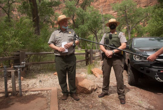 Zion National Park Spokesperson Jeff Axel and Chief Ranger Daniel Faegren speak with reporters about the partial reopening Wednesday, May 13, 2020.
