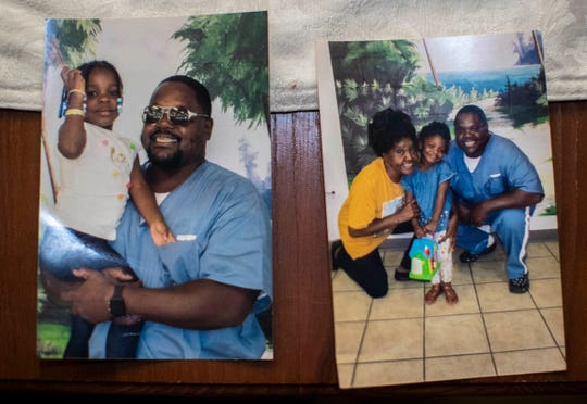 Photographs of Marshall Williams, who is Muslim, with his daughter and mother. Williams is currently incarcerated in the Gadsden County Jail and celebrating Ramadan.