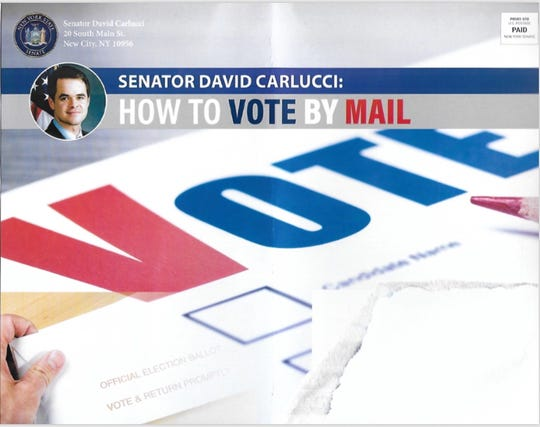A detail of a government mailer sent by Sen. David Carlucci.