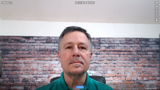 Larry Becker shows how to know if your webcam is too low. If you can see the ceiling.