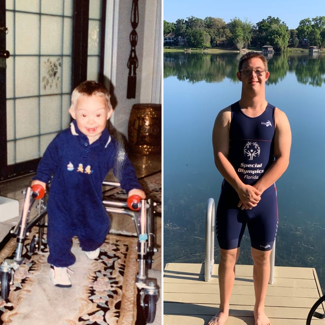 Special Olympian Chris Nikic is training to be first person with Down Syndrome to complete Ironman. He needed a walker when he was three years old (left).