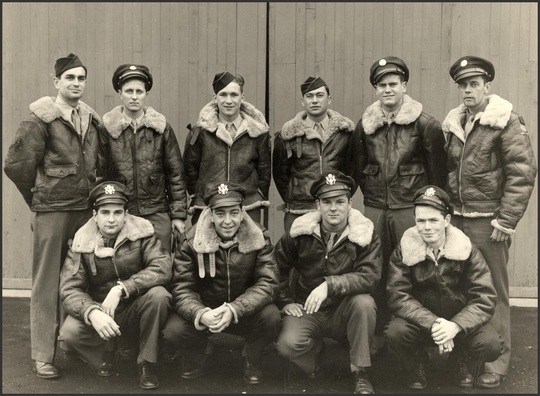 Paul Grassey, bottom row and second from left, is pictured with his fellow airmen during World War II. Grassey flew bombers over occupied Europe, and believes the unified nature of American sentiment 80 years ago was critical to defeating Nazi Germany and other Axis powers. He says the same sense of shared resolve will be needed to beat back the coronavirus pandemic.