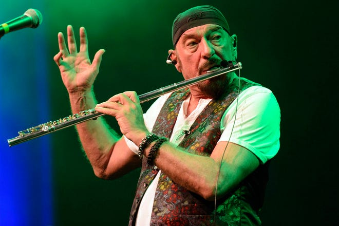 In this photo made available Monday, July 2, 2012, British singer, composer, songwriter, flutist and guitarist Ian Anderson performs wit his band Jethro Tull at the 46th Montreux Jazz Festival, in Montreux, Switzerland on July 1, 2012.