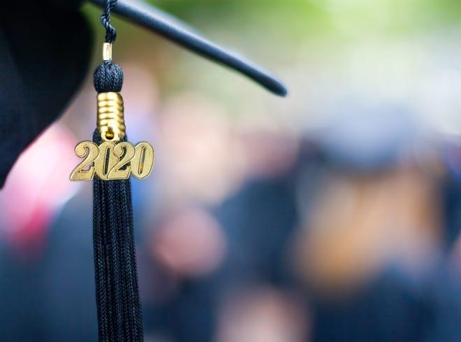 Closeup of a 2020 graduation tassel at a graduation ceremony.