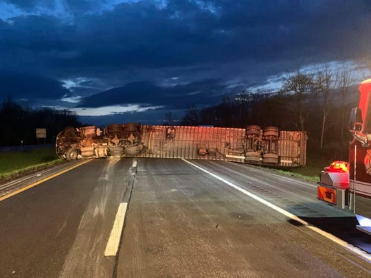 The driver of a tractor trailer sustained minor injuries after a rollover crash early in the morning on  May 15, 2020 just before Exit 64 in Owego.