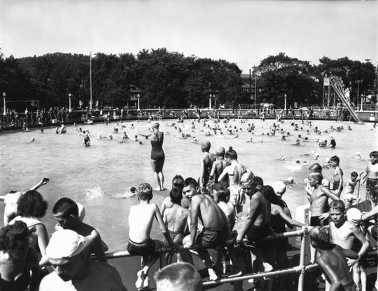 A summer's day fun in the Bintz pool, about 1940s.
