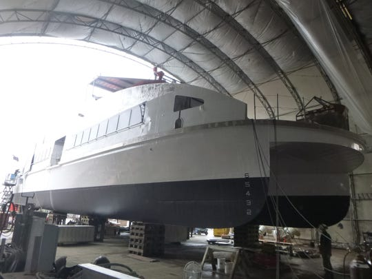 One of the bow-loading fast ferries being built for Kitsap Transit at Nichols Bros shipyard on Whidbey Island. Social distancing and supply-chain issues have caused delays in construction.