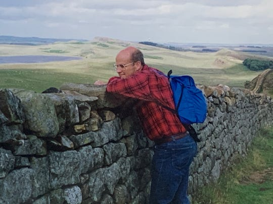 Joe Grable Jr. at Hadrian's Wall in Great Britain, an engineering marvel he admired.