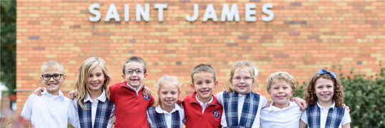 Students at St. James School in White Oak
