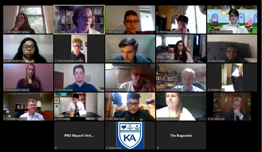 Koinonia Academy senior class final debate of the year.