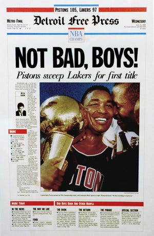 Detroit Free Press celebrates the Detroit Pistons' first NBA championship with the headline 'Not Bad, Boys!' on June 14, 1989.