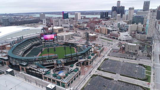 The MLB has suspended the start of the season leaving an empty Comerica Park in Detroit Monday, March 30, 2020 during a worldwide pandemic due to the spread of Coronavirus. The Detroit Tigers were to take on the Kansas City Royals for their home opener.