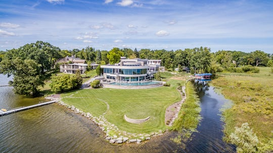 An aerial view of the home of Detroit Lions quarterback Matthew Stafford, at 1867 Long Pointe Drive in Bloomfield Twp. The home is for sale for $6.5 million. The five-bedroom, seven-bathroom lakefront home features 12,295 square feet, including 7,720 above ground. The rear faces Upper Long Lake.