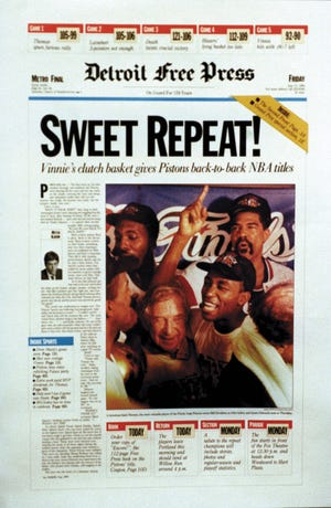 Detroit Free Press headline 'Sweet Repeat!' on June 15, 1990.
