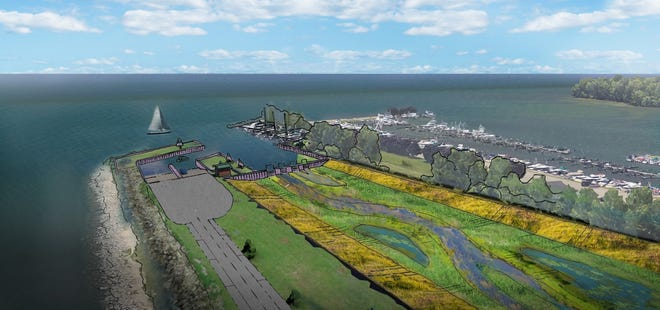 Artist rendering on the retention pond proposed by Macomb County Public Works Commissioner Candice Miller.