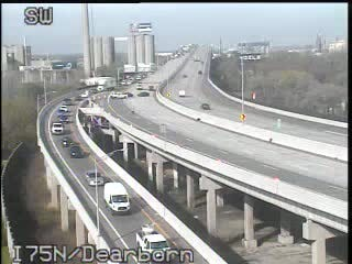 All lanes of northbound I-75 at Dearborn Street is closed due to a crash, officials said.