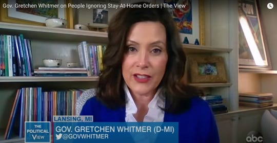 Michigan Governor Gretchen Whitmer appears on The View, March 30, 2020.