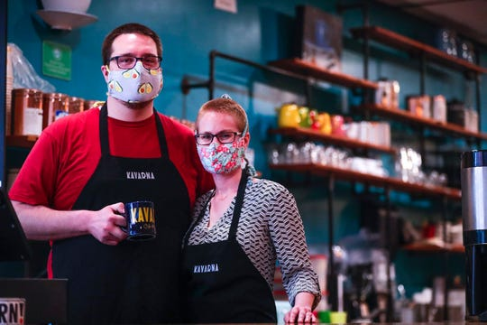 """Kayla Viste and her husband, Mike Hastreiter, are the owners of Kavarna and will not open their doors for dine-in service even if Brown County's stay-at-home order is lifted on May 20. """"Businesses in general are in a hard position of choosing public safety and their businesses long and short term life,"""" Hastreiter said."""
